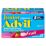 Advil Junior Strength Ibuprofen Tablets Usp 100 mg Fruit 20 Chewable Tablets