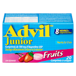 Advil Junior Comprimés D'Ibuprofène Usp Fruit 100Mg x 20 Comprimés à Croquer