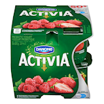 Danone Activia Probiotic Yogurt Strawberry, Raspberry 8 x 100g