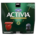Danone Activia Probiotic Yogurt Blueberry, Strawberry and Rhubarb 8 x 100g