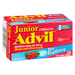 Junior Strength Advil Ibuprofen 100 mg Tablets Usp Blue Raspberry 20 Chewable Tablets