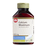 Calcium Maximum Avec Vitamine D3 Life Brand - Comprimés de 650 Mg/400UI