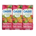 Oasis Classic 100% Pure Juice Tropical Passion 3 x 200mL