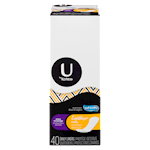 U by Kotex Lightdays Liners, Extra Coverage, Fragrance-Free, 40 Count