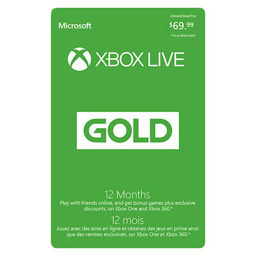 Xbox Live 12 Month Subscription $69.99