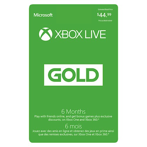 Xbox Live 6 Month Subscription $44.99